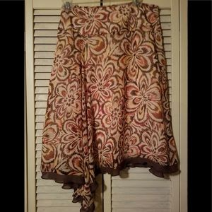 EUC WORTHINGTON SZ 10 BROWN LINED FRONT SKIRT